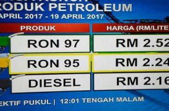 harga minyak naik bermula 13 april 2017